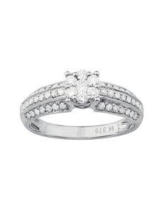 jewellery: 9KT White Gold Diamond Illusion set Ring KA8695!
