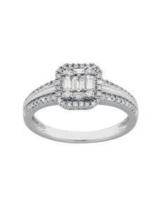 jewellery: Square Emerald Pave Set White Gold Diamond Ring!