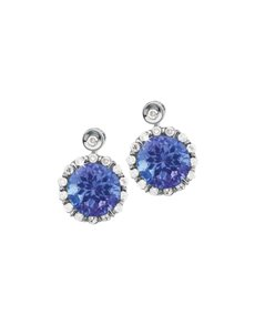 jewellery: 9ct White Gold Diamond  Tanzanite Round Earrings!