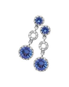jewellery: 9ct White Gold Diamond Tanzanite Drop Earrings!
