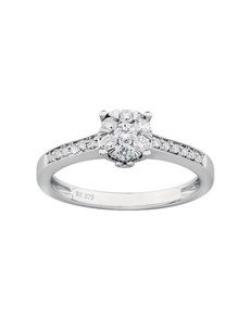 jewellery: 9ct White Gold Claw Set Diamond Ring!