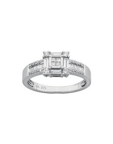 jewellery: Square Four Claw White Gold Diamond Ring!