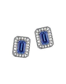 jewellery: 9KT Tanzanite and Diamond Earrings KA9769!