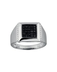 jewellery: 9KT White Gold Diamond Gents Ring KA9775!