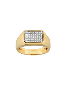 jewellery: 9KT Yellow Gold Diamond Round Cut Gents Ring!