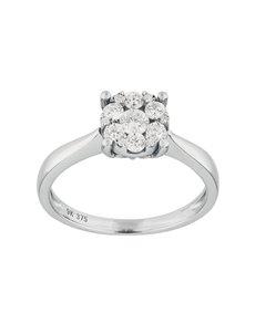 jewellery: 9KT White Gold 0,59ct Diamond Illusion set Ring!