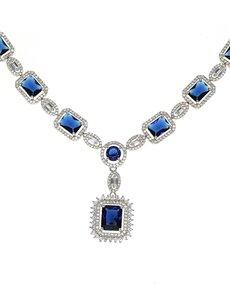 jewellery: Sterling Silver Blue Cubic Neckpiece!