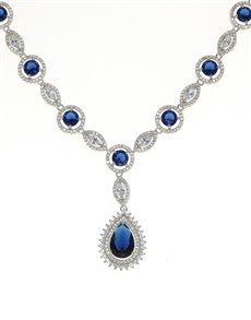 jewellery: Sterling Silver Blue Cubic Zirconia Neckpiece!