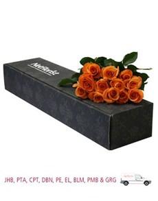 flowers: Mangwanani Orange Roses in a Box!
