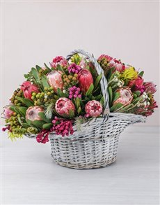 flowers: Mixed Proteas in a Large Basket!