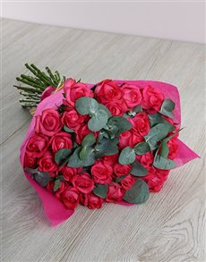 flowers: Cerise Rose and Penny Gum Bouquet!