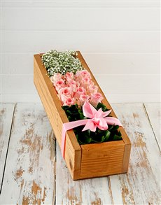 flowers: Wooden Crate of Pink Roses!