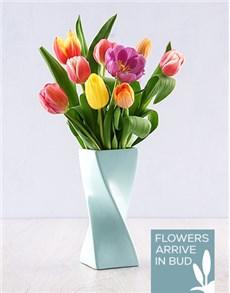 Tulips in a Blue Twisty Vase