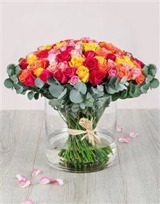 flowers: One Hundred Mixed Roses in Cylinder Vase!