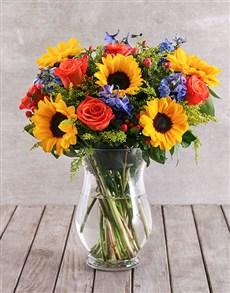 flowers: Mixed Sunflower Arrangement!