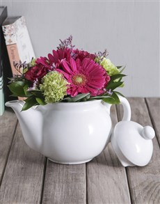 flowers: Flowers in Ceramic Tea Pot!