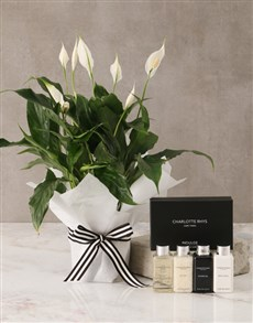 flowers: Peace Lily Bath & Body Hamper For Mum!