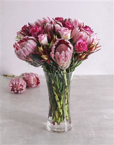 flowers: Colour infused Rose and Protea Mix!