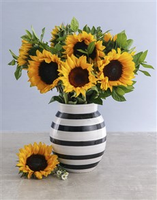 flowers: Mothers Day Sunflowers In Striped Vase!