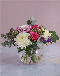 flowers: Mothers Day Blooms In Round Vase!