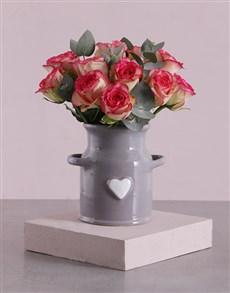 flowers: Pink Roses In A Ceramic Heart Jug!