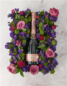 flowers: Mothers Day Purple Blooms Champagne Crate!