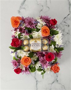 flowers: Vibrant Mothers Day Flowers And Choc Crate!