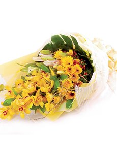 Joyfully Yellow Orchids and Daisies
