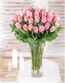 flowers: Pink Roses In a Vase!