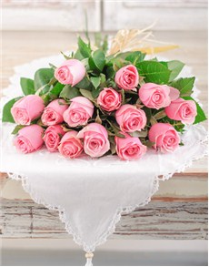 flowers: Dozen Pink Roses with 3 Free!