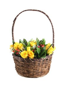 flowers: Roses in Woven Basket!
