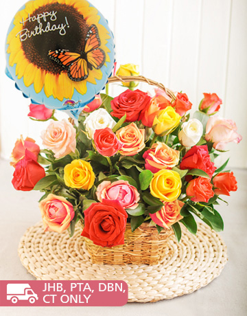 flowers: Mixed Roses in Country Basket with Balloon!