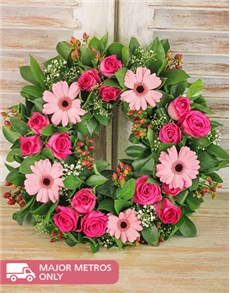 flowers: Pink Funeral Wreath!