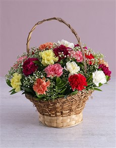 flowers: Mixed Carnations in a Basket!