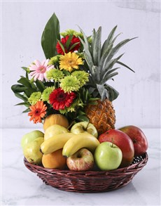 gifts: Flower and Fresh Fruit Basket!
