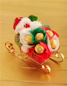 Ferrero Rocher in Edible Sleigh Arrangement