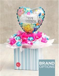 flowers: Cerise & Turquoise Anniversary Edible Arrangement!