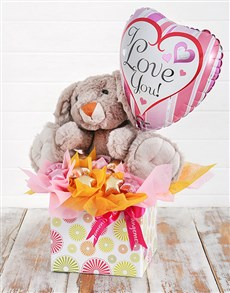 flowers: Rabbit Choc Stars and Love You Balloon Box!
