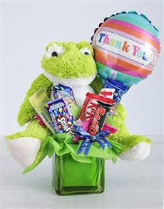 flowers: Green Frog Chocolate and Thank You Balloon Gift!
