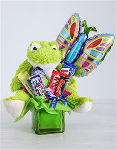 flowers: Green Frog Chocolate and Butterfly Balloon Gift!