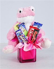 flowers: Pink Frog and Chocolate Gift!