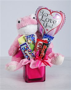 flowers: Pink Frog Chocolate and Love Balloon Gift!