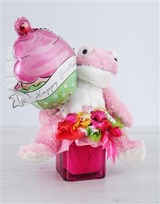 flowers: Pink Froggy Choc Star and Cupcake Balloon Vase!