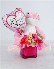 flowers: Pink Froggy Choc Star and Love Balloon Vase!