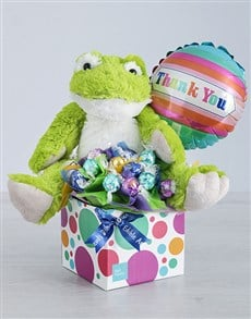 flowers: Green Froggy Lindt and Thank You Balloon Box!