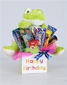 flowers: Green Birthday Frog and Choc Box!