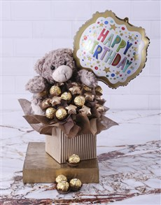 flowers: Choc Teddy Birthday Edible Arrangement!