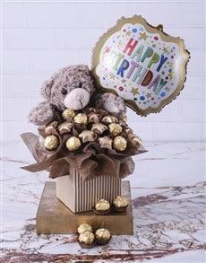 flowers: Choc Teddy Birthday Edible Arrangement!