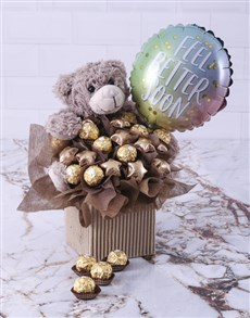 flowers: Choc Teddy Feel Better Edible Arrangement!