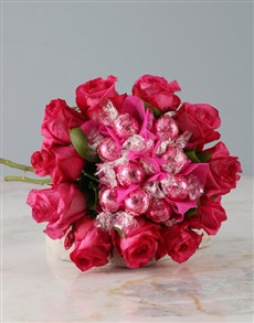 flowers: Pink Rose and Lindt Bouquet!